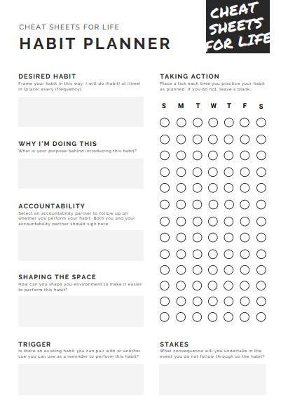 Cheat Sheets Habit Planner